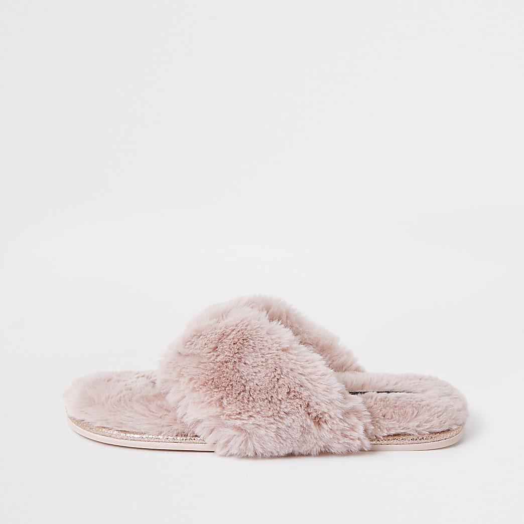Chaussons claquettes en fausse fourrure rose à strass
