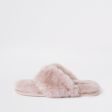 Pink diamante faux fur flip flop slippers