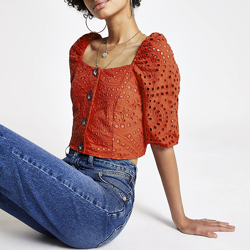 Red broderie puff sleeve crop top