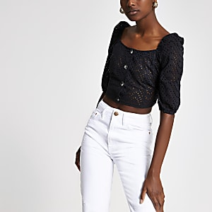 Black broderie puff sleeve crop top