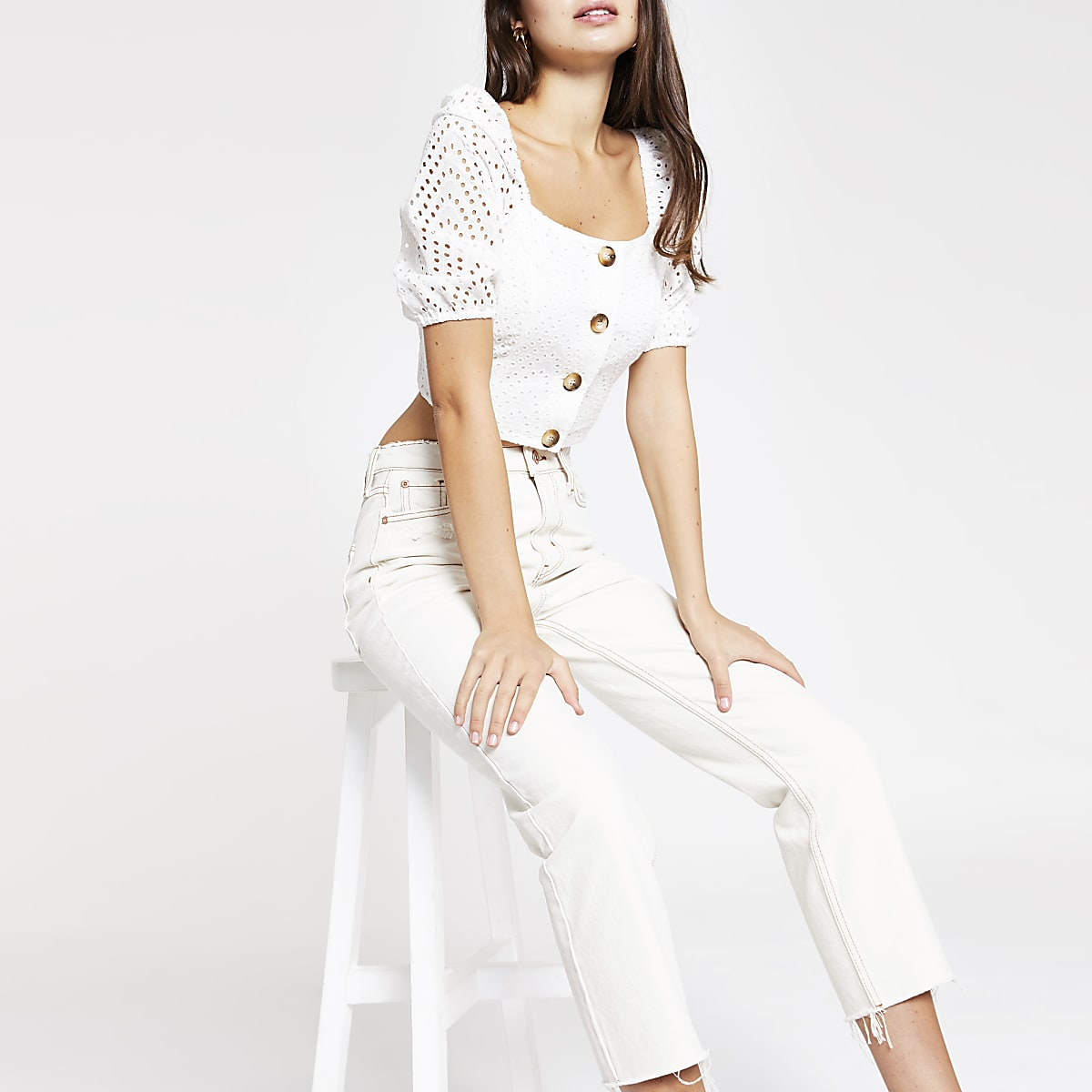 White broderie puff sleeve crop top