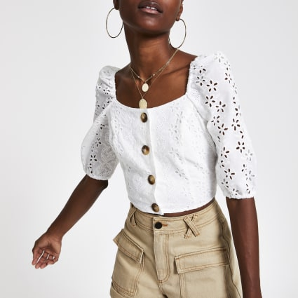 White broderie button front crop top