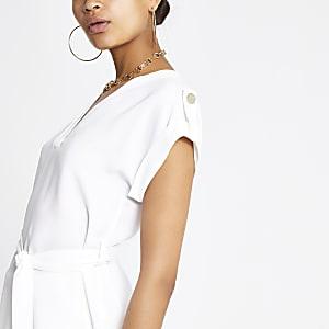 T-shirt blanc à ceinture