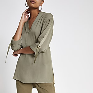 Khaki over-sized rolled sleeve shirt