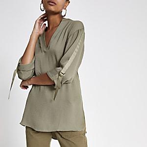 Kaki oversized overhemd met omgeslagen mouwen