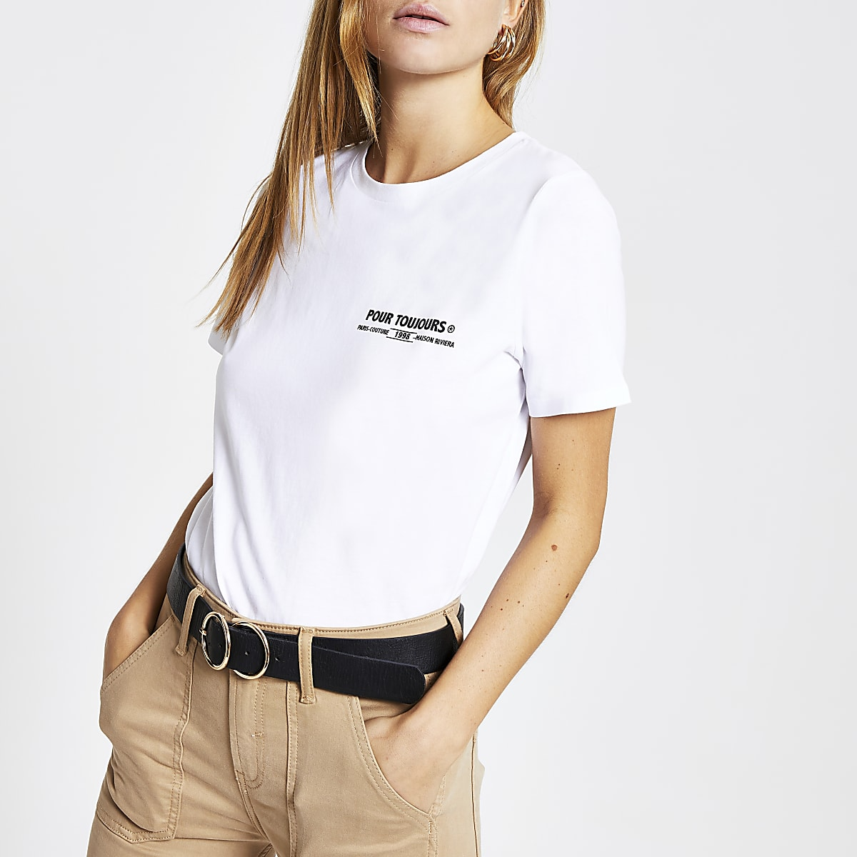 White 'Pour Toujours' fitted T-shirt