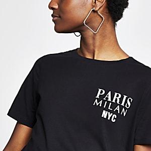 Black 'Paris Milan NYC' fitted T-shirt