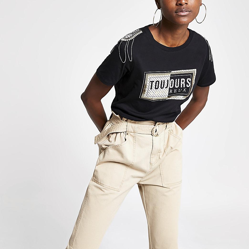 Zwart verfraaid T-shirt met print op de schouder
