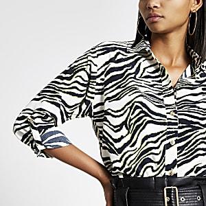 Wit utility overhemd met zebraprint en lange mouwen