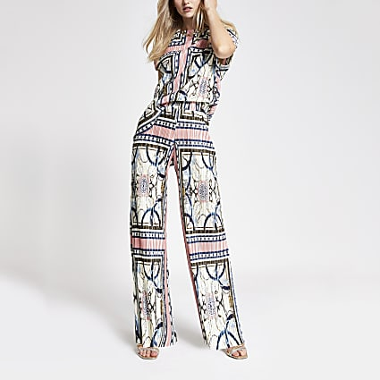 Pink scarf print wide leg trousers