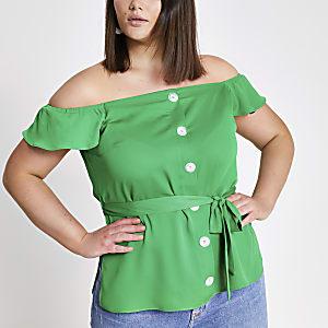 Plus – Grünes Bardot-Oberteil