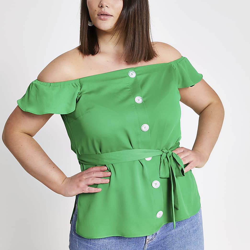 Plus green bardot top