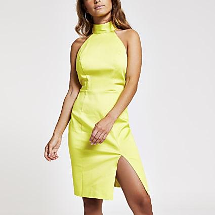 Petite lime cut out back bodycon dress