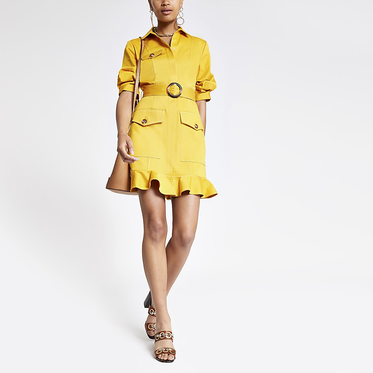 Yellow belted utility dress