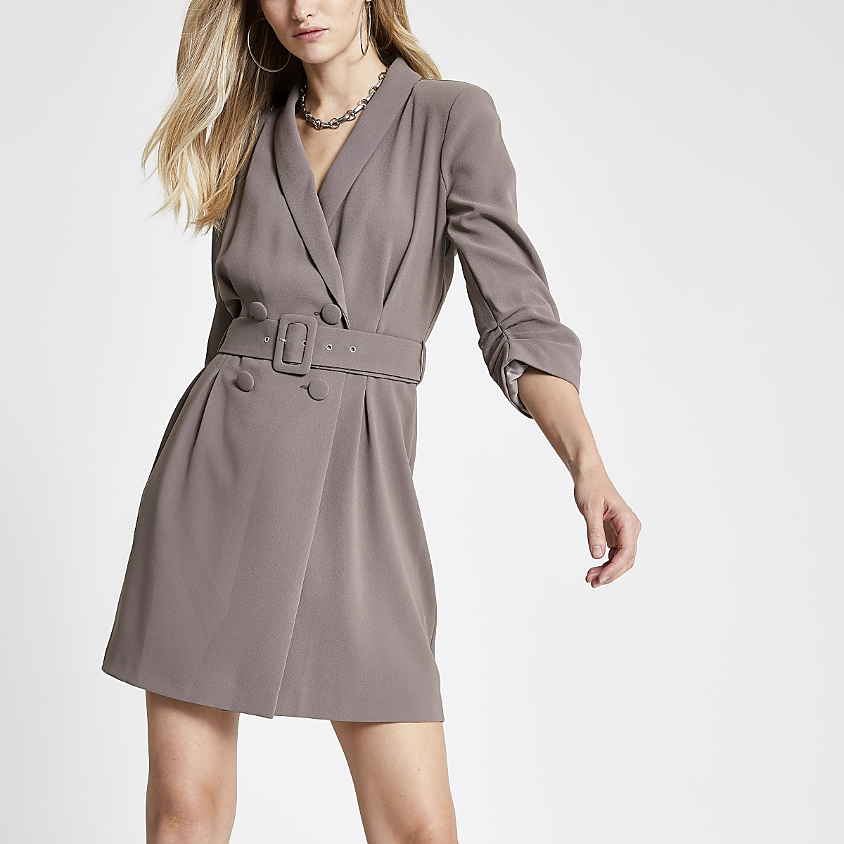 Dark beige belted tux dress