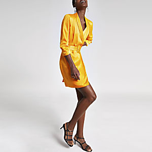 Orange belted blazer dress