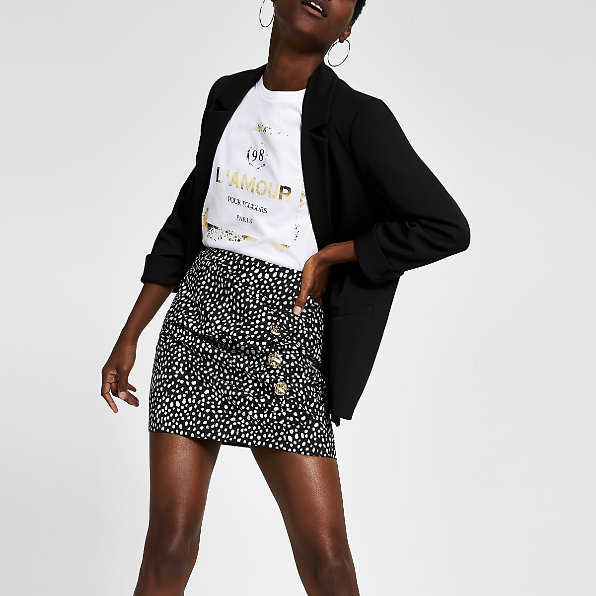 Black print wrap skirt