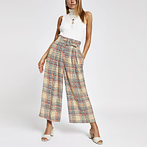 Beige check cropped pants