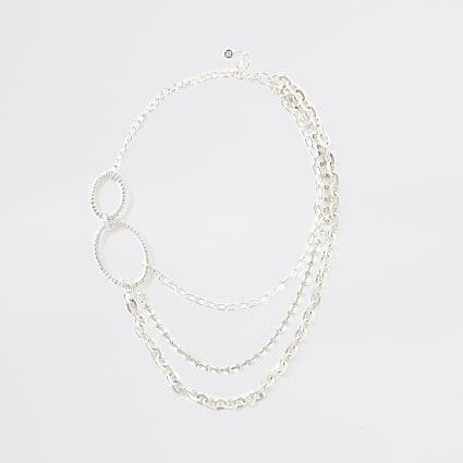 Silver oval diamante paved necklace