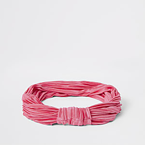 Pink plisse knot front headband