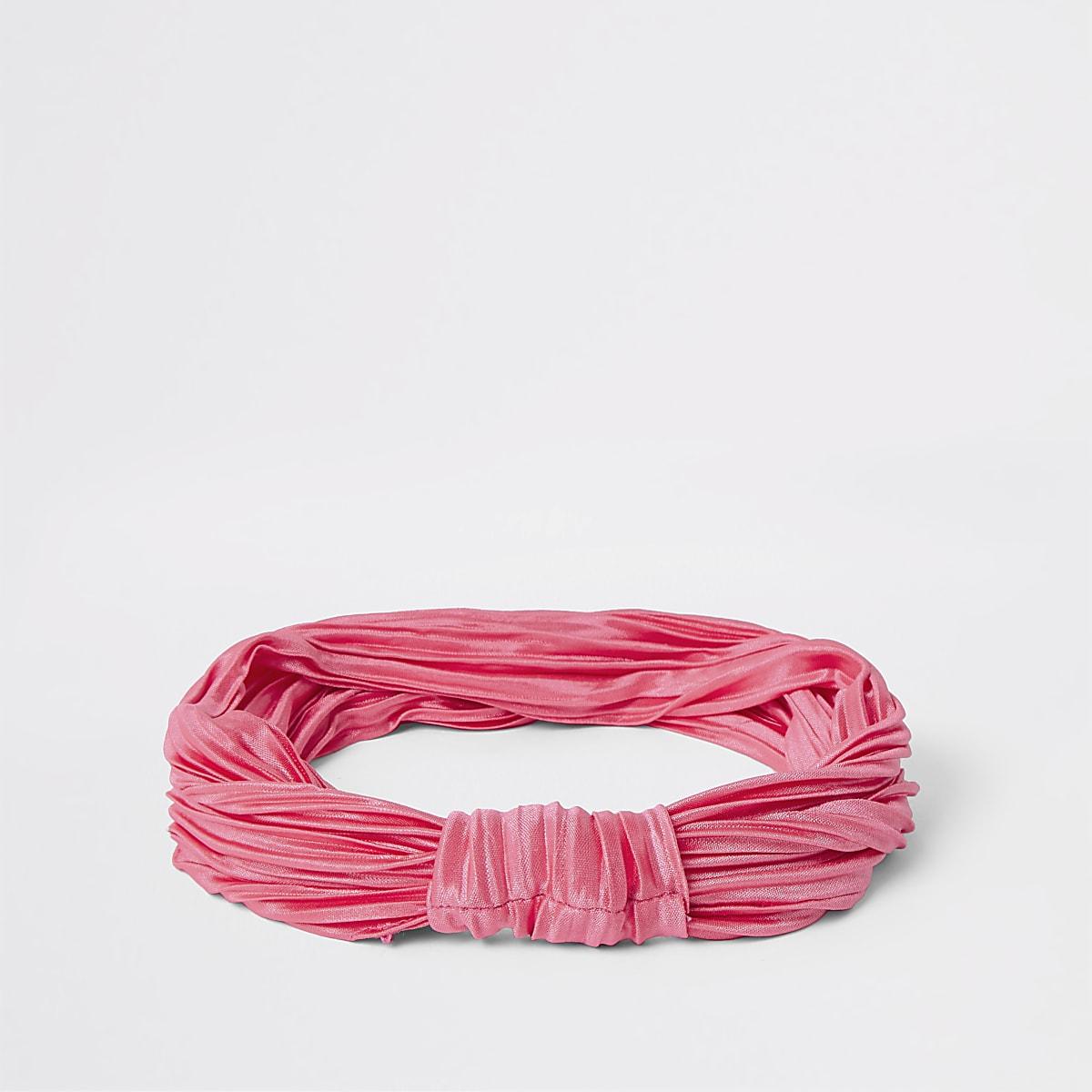 Pink plisse knot front headband