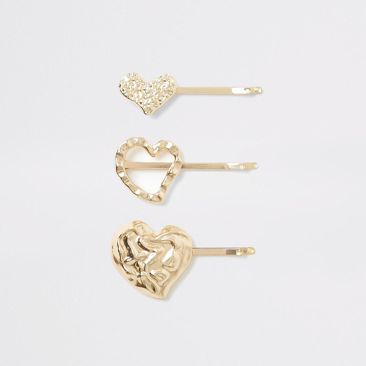 Gold colour heart hair slides multipack