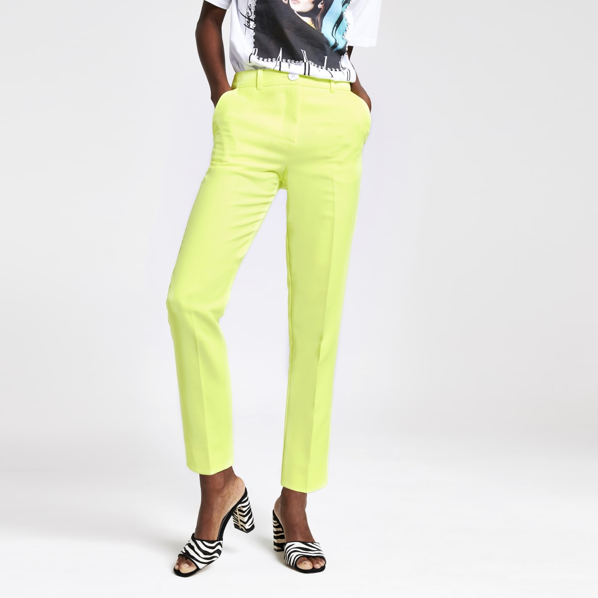 Pantalon cigarette vert citron