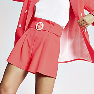 Neon pink belted shorts