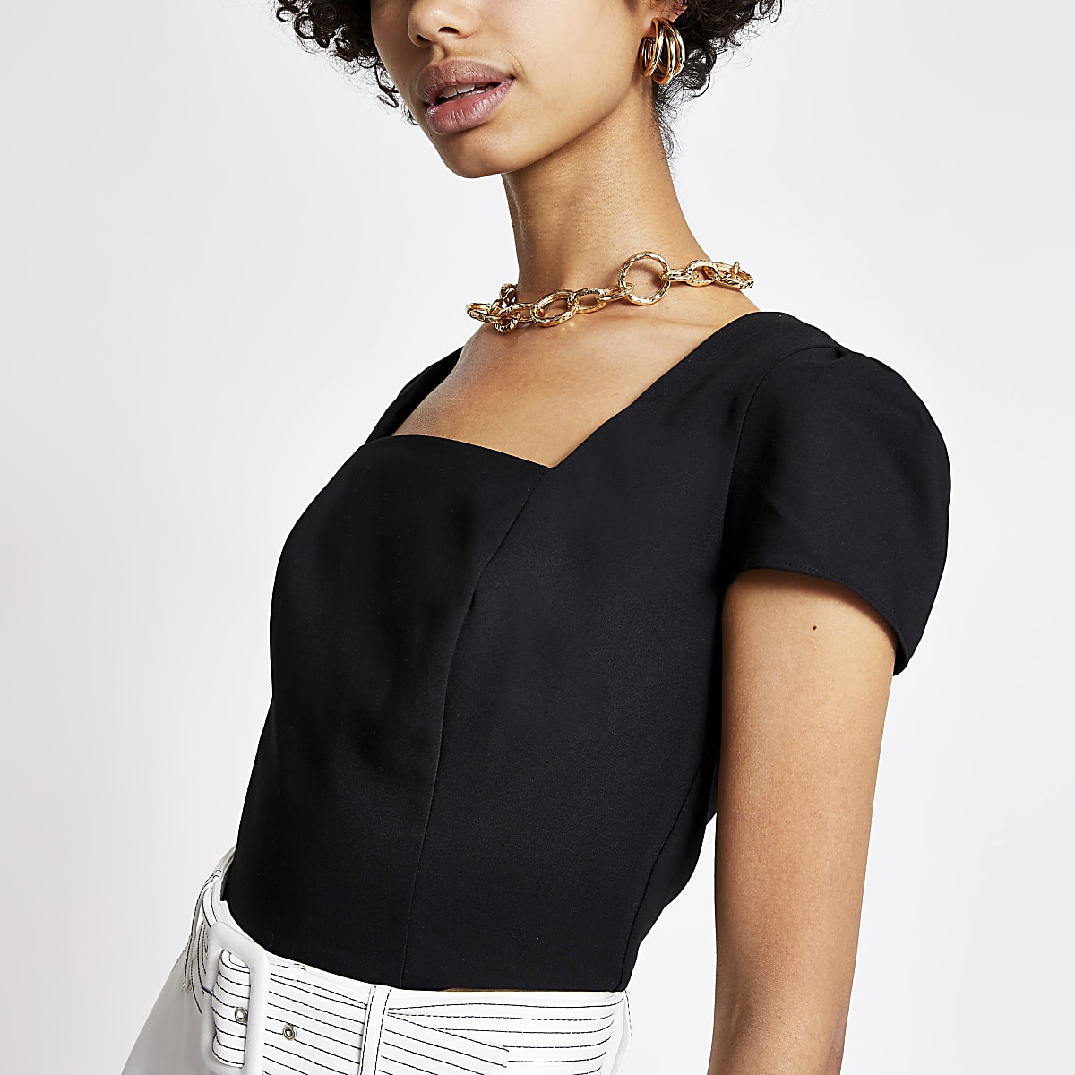 Black square neck crop top