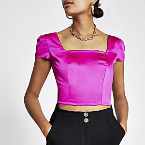 Roze crop top met vierkante hals