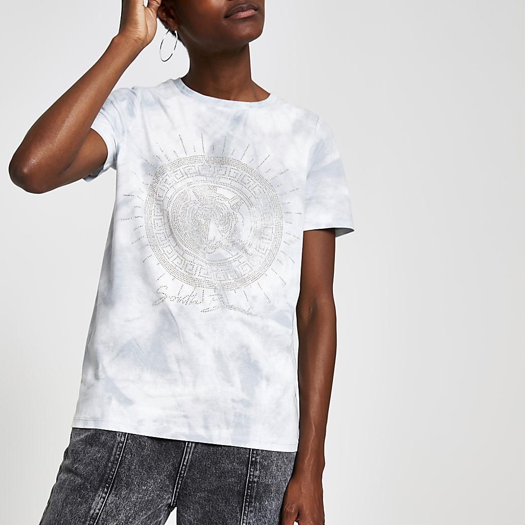 T-shirt effet tie and dye gris orné
