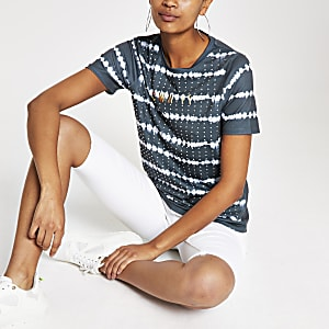 Grey tie dye stripe fitted T-shirt