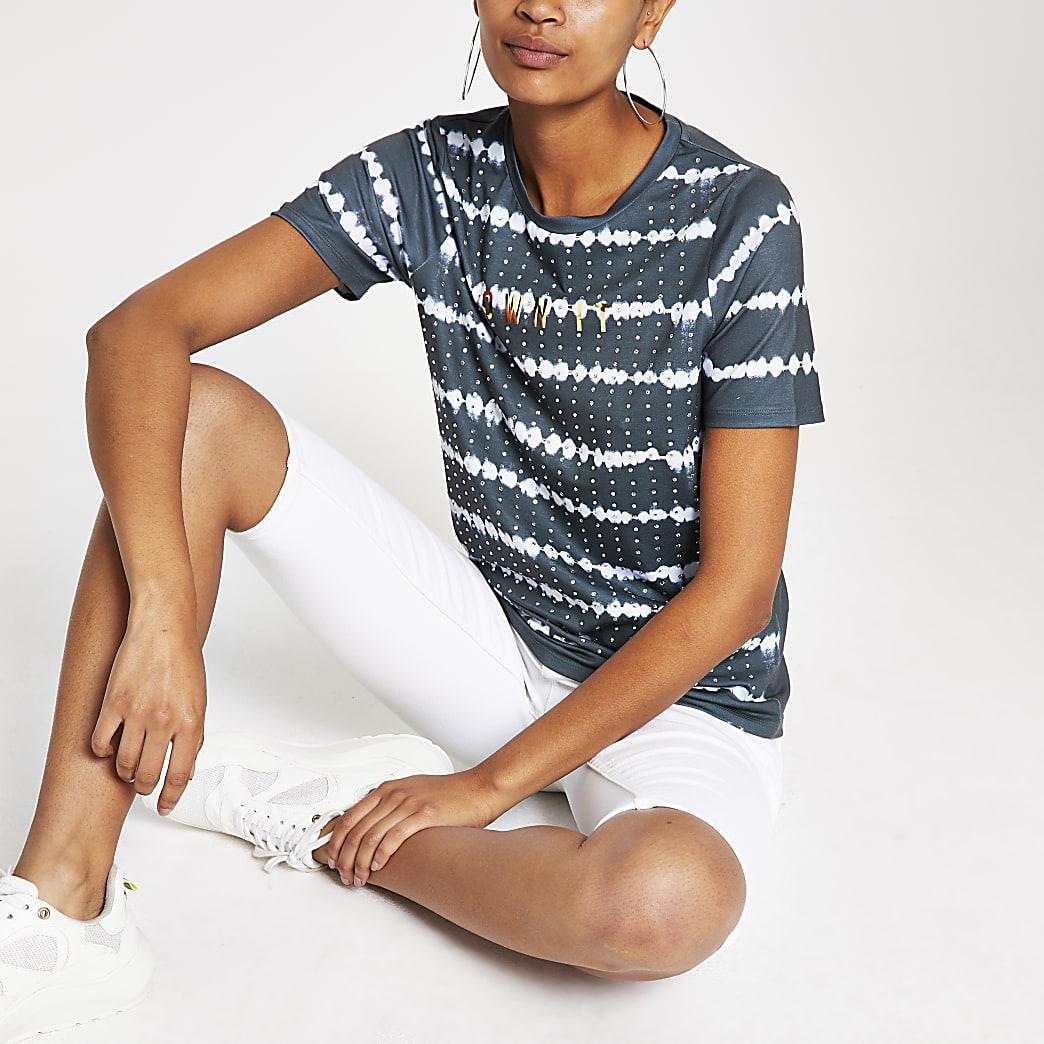Grey tie dye stripe fitted T-shirt