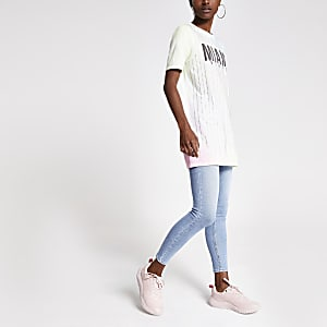 Geel verfraaid jumbo T-shirt met print