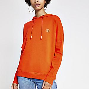 Sweat à capuche orange à manches chauve-souris