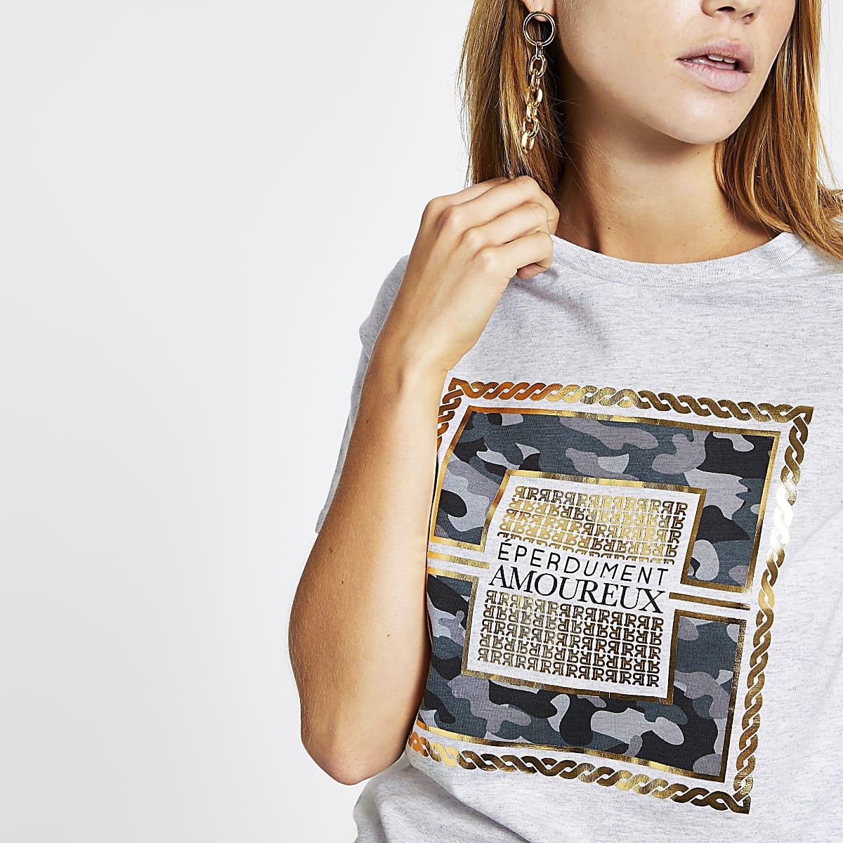 Grey camo print T-shirt