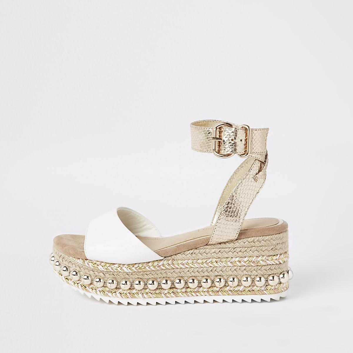 0d511ea47d Beige studded flatform espadrille wedges - Sandals - Shoes & Boots - women