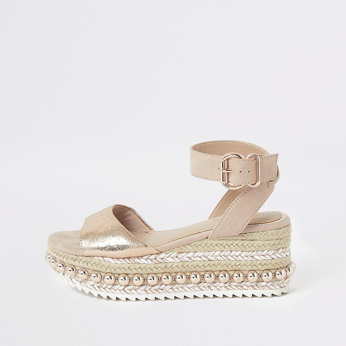 da436434e8 Gold studded flatform espadrille wedges - Sandals - Shoes & Boots - women