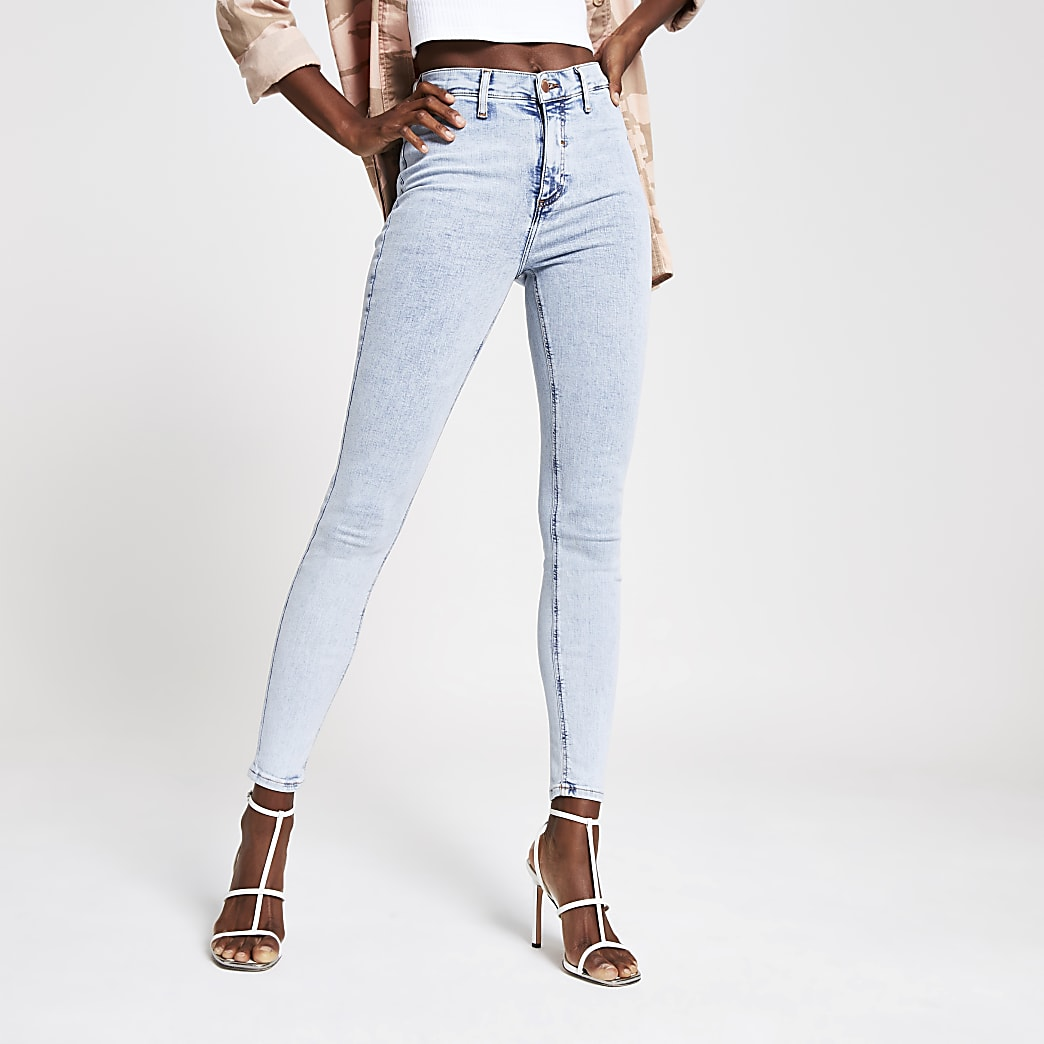 Light blue acid Kaia high rise disco jeans