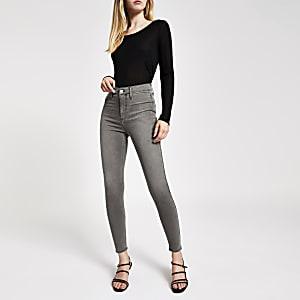 Kaia – Graue Jeans mit hohem Bund