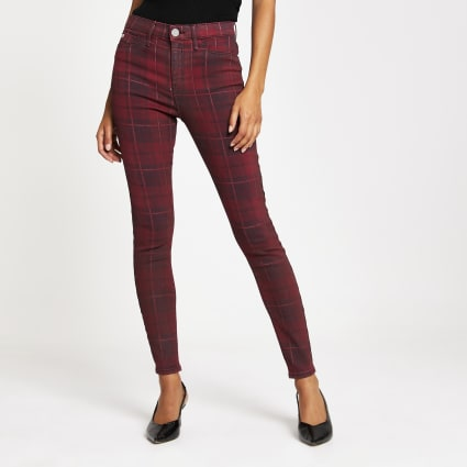 Red tartan coated Molly mid rise jegging