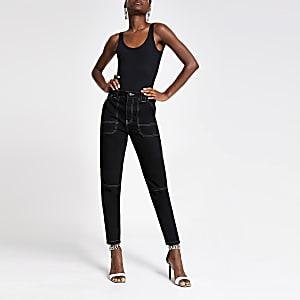 Zwarte toelopende jeans