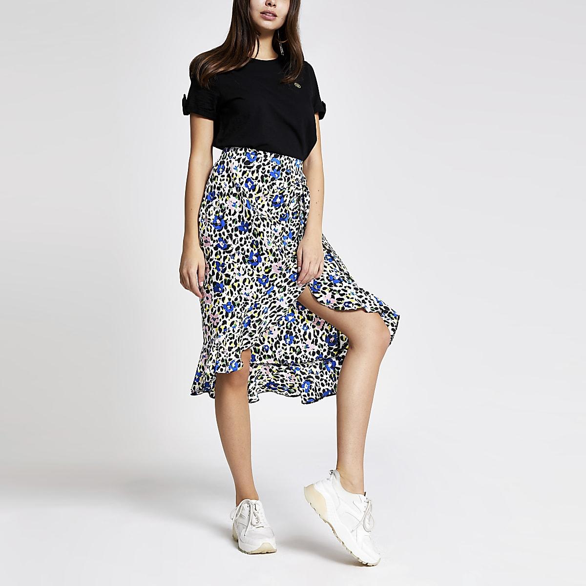 Black print frill wrap skirt
