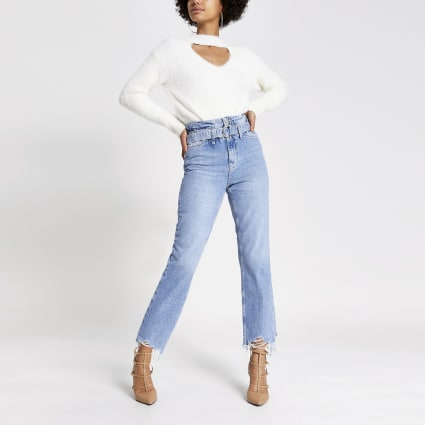 Blue frayed hem Mom paperbag belted jeans