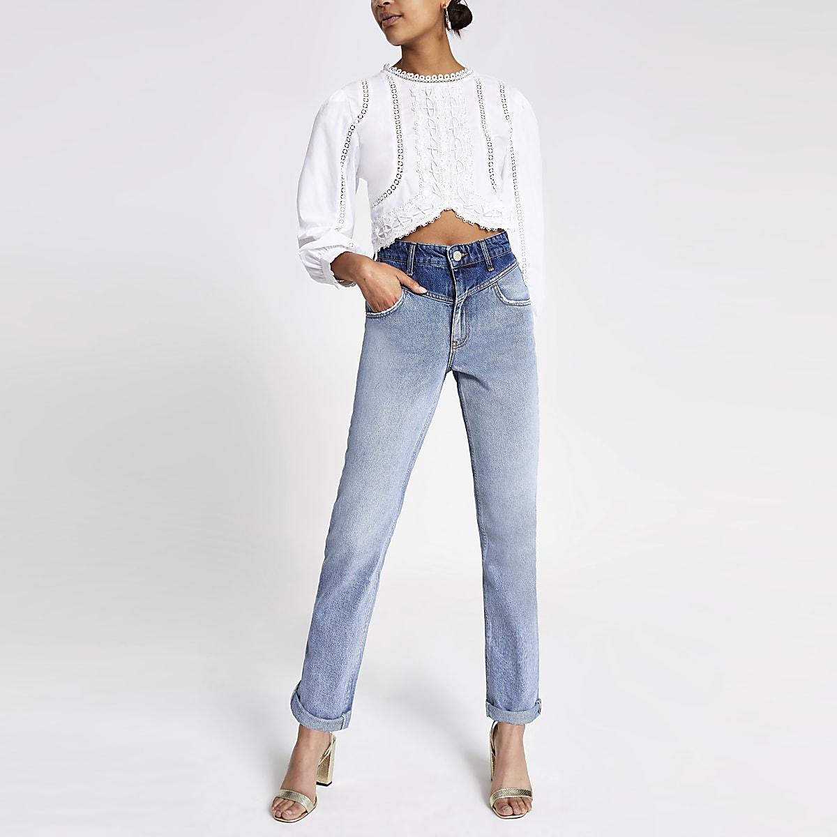 Middenblauwe denim mom jeans