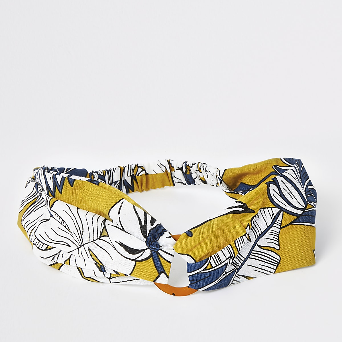 Yellow printed ring headband