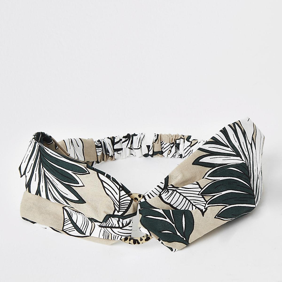 Beige print ring headband