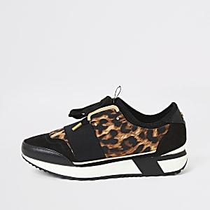 Zwarte elastische sneakers met luipaardprint