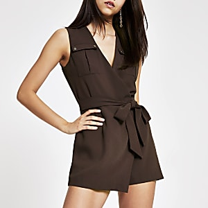 Brown wrap utility playsuit