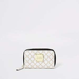 Mini porte-monnaie à logo RI beige